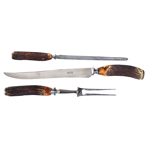 English Stag Horn Carving Set, 3 Pcs