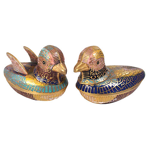 Feng Shui Enameled Duck Boxes, Pair