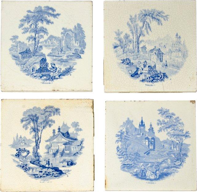 18th-C. Delft Landscape Tiles, S/4
