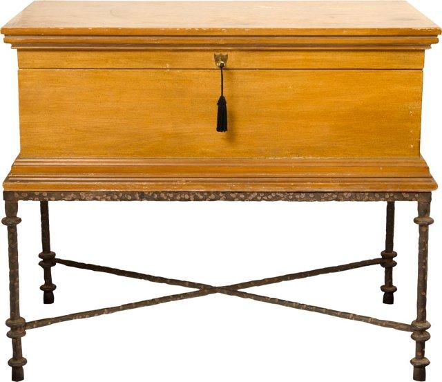 Wood Coffer on Giacometti Iron Stand