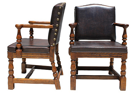 Brentwood Leather Chairs, Pair