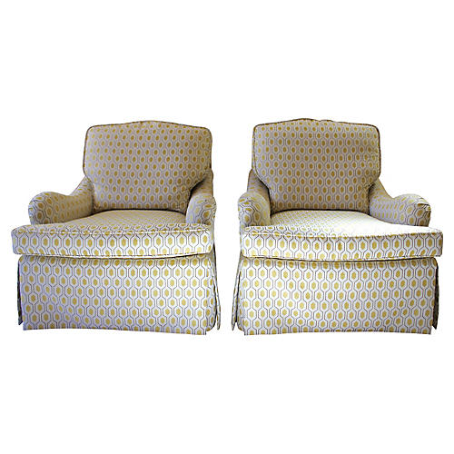 Baker Skirted Lounge Chairs, Pair