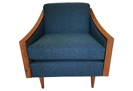 Blue Midcentury Lounge Chair