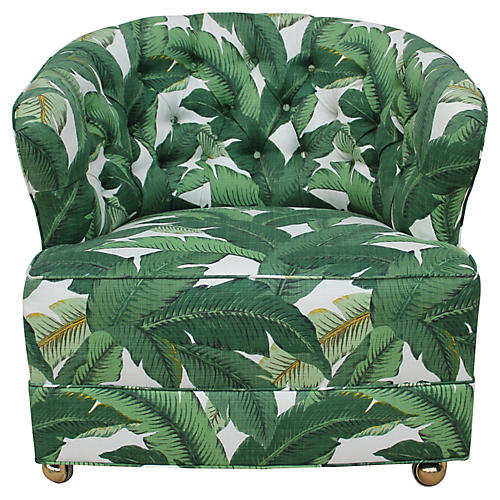 1940s Tufted Palm Leaf Club Chair