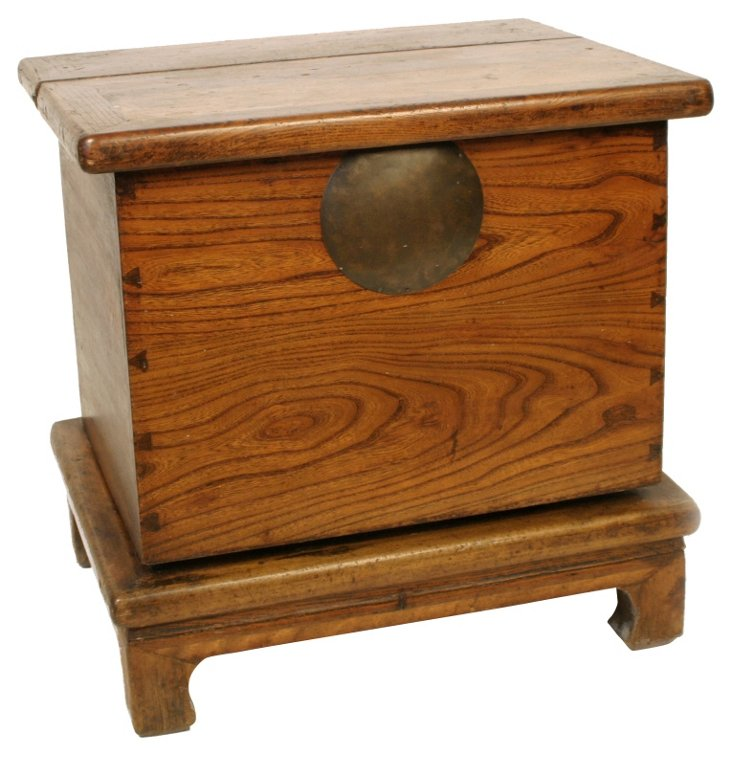 19th-C. Square Elm Cabinet w/ Stand