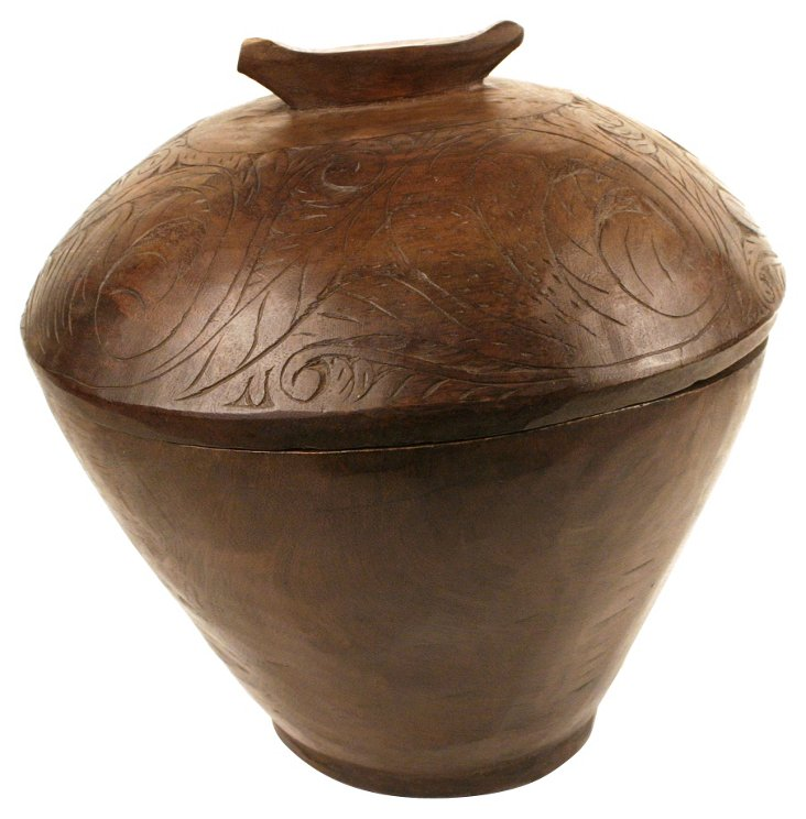 Antique Covered Wood Bowl