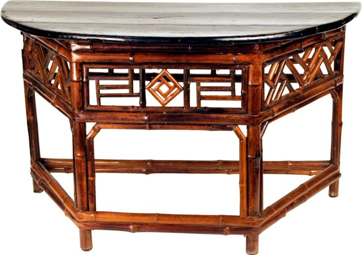 Shanxi Bamboo Demilune Table