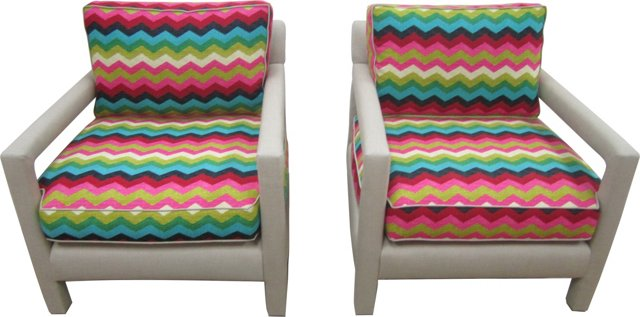Chevron Chairs, Pair