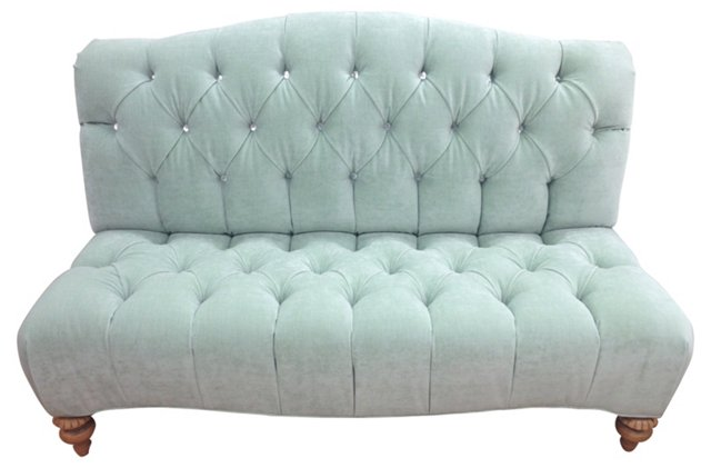 Tufted bench w/ Mother-of-Pearl Buttons