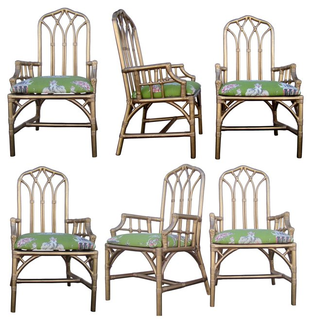 Bamboo  Armchairs, Set of 6