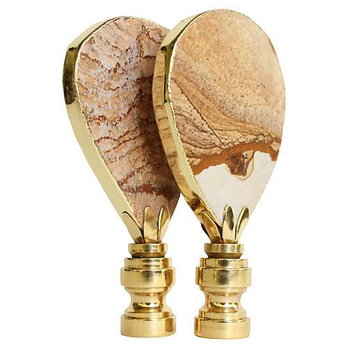 Gilded Desert Jasper Lamp Finials, Pair