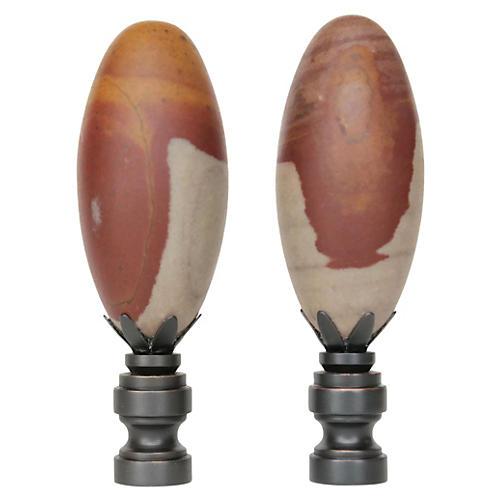 Shiva Lingam Stone Lamp Finials, Pair