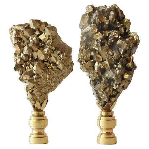 Golden Drusy Nugget Lamp Finials, Pair