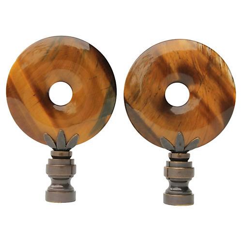 Tigers Eye Lamp Finials, Pair
