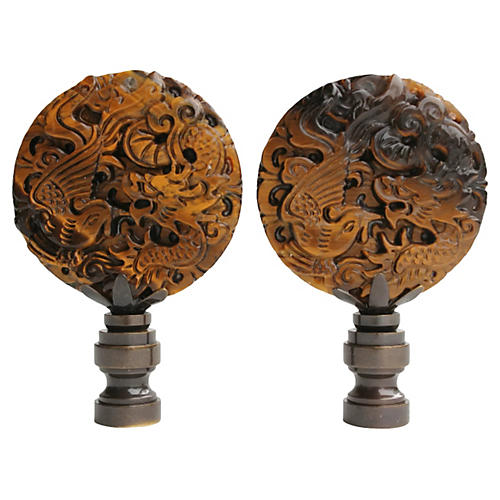 Carved Tiger's Eye Lamp Finials, Pair