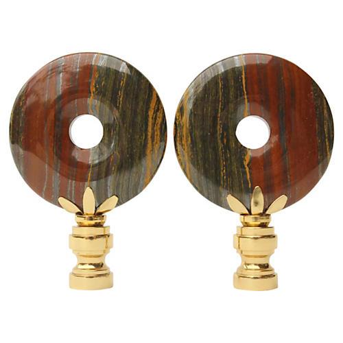 Iron Tiger's Eye Lamp Finials, S/2