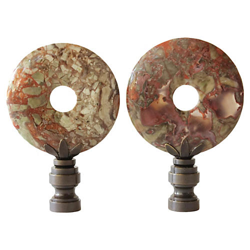 Blossom Agate Lamp Finials, Pair