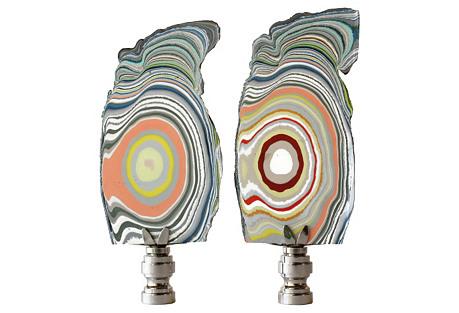 Whorled Paint Lamp Finials, Pair
