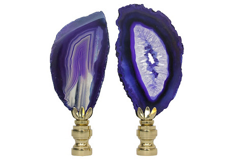 Purple Agate Slice Lamp Finials, Pair