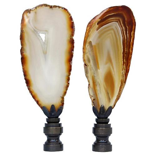 Natural Agate Slice Lamp Finials, Pair
