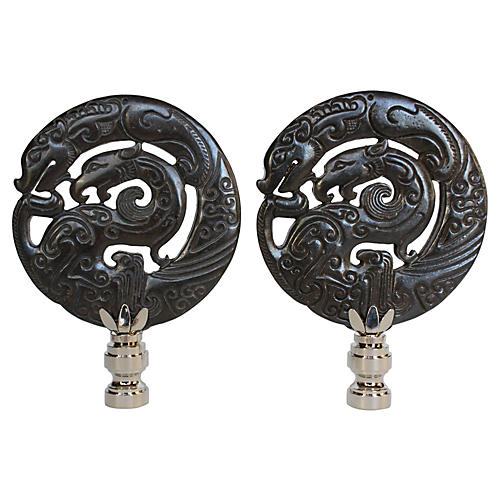 Mother Dragon Stone Lamp Finials, Pair