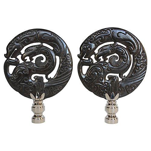 Mother Dragon Stone Lamp Finials, Pair