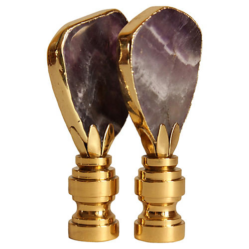 Gilded Amethyst Lamp Finials, S/2