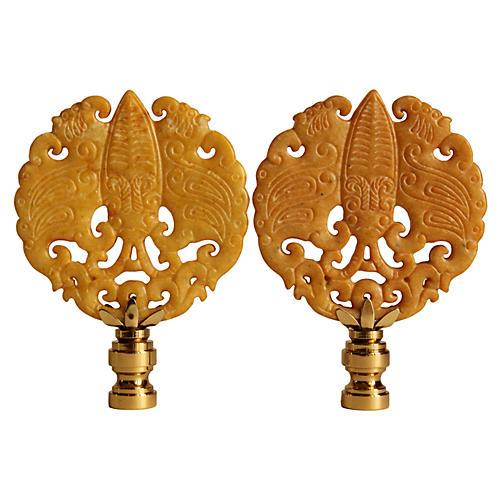 Asian-Style Cicada Lamp Finials, Pair