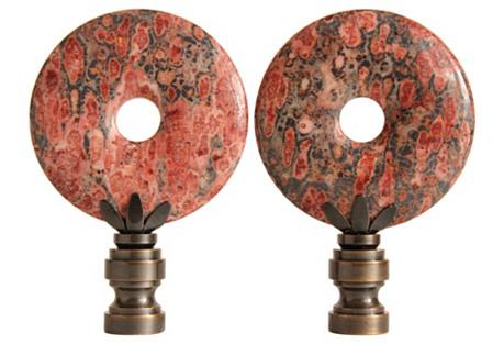 Leopard Skin Jasper Lamp Finials, Pair