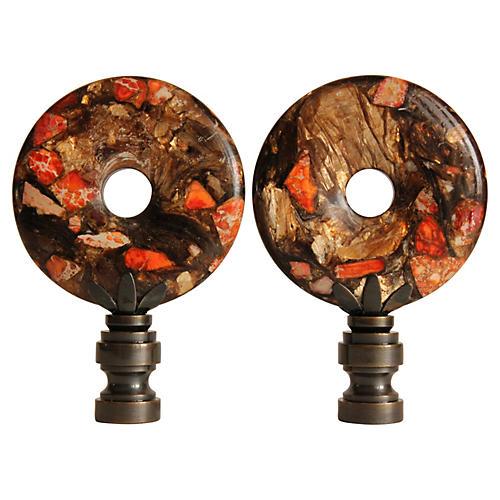 Orange Bronzite Lamp Finials, Pair