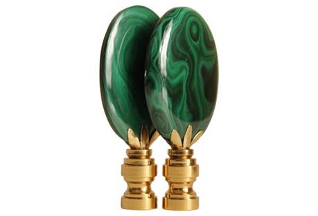 Malachite Lozenge Lamp Finials, Pair