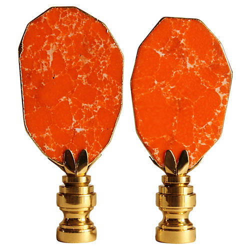 Orange Gilded Jasper Lamp Finials, S/2