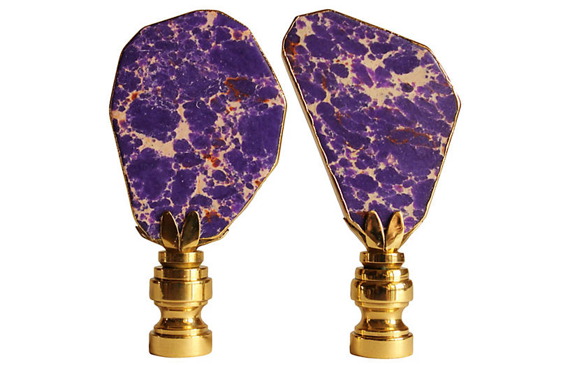 Gilded Violet Jasper Lamp Finials, S/2