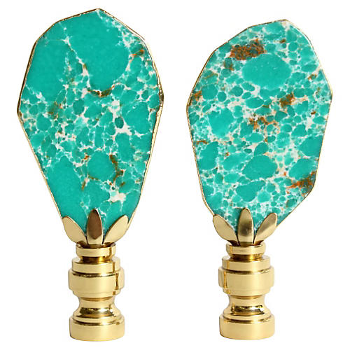 Turquoise Jasper Gilded Finials, S/2