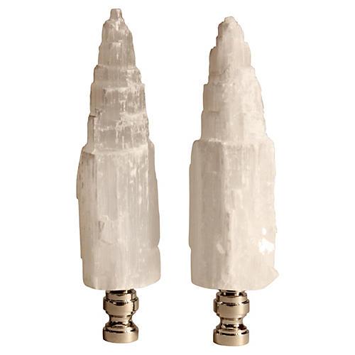 Selenite Tower Lamp Finials, S/2