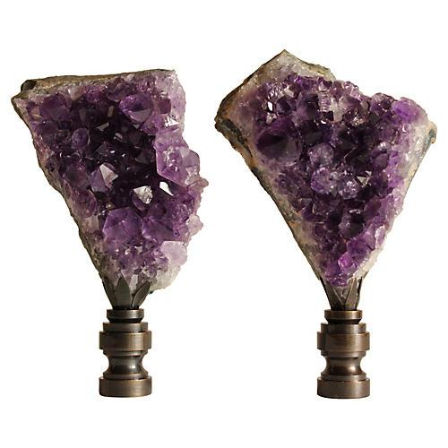 Amethyst Specimen Lamp Finials, S/2