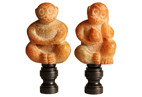 Stone Fire Monkey Lamp Finials, Pair