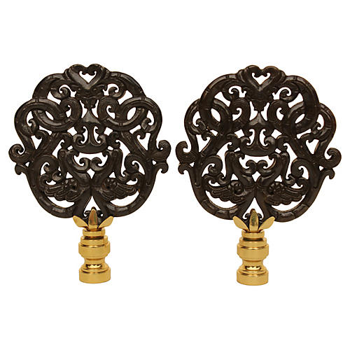 Black Scroll Lamp Finials, Pair
