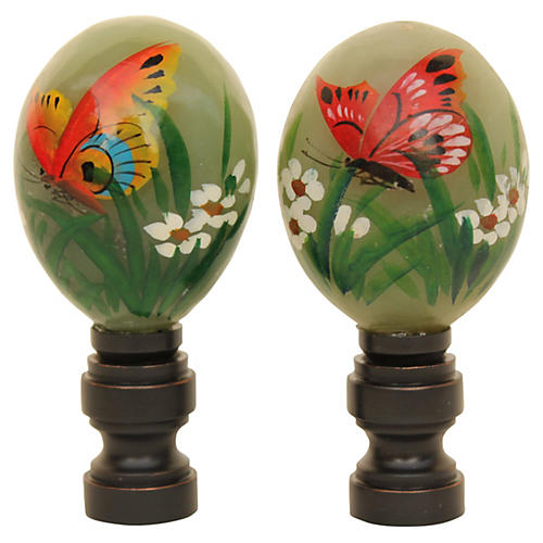 Asian Butterfly Lamp Finials, Pair