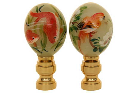 Asian Koi Fish Lamp Finials, Pair