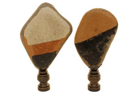 Sea Tumbled Tile Lamp Finials, Pair