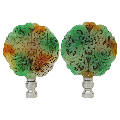 Tri-Colored Stone Lamp Finials, Pair