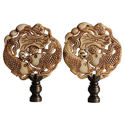 Asian Koi Lamp Finials, Pair