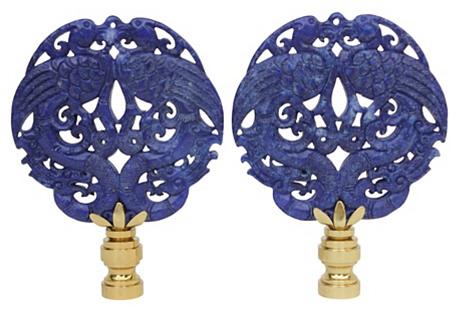 Asian Peacock Lamp Finials, Pair
