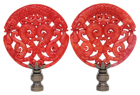 Red Chinoiserie Scroll Lamp Finials, S/2