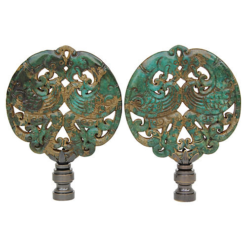 Asian Phoenix Verdigris Lamp Finials
