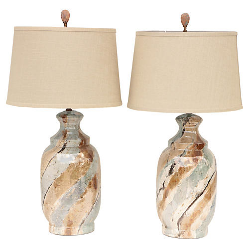 Marbled Ceramic Table Lamps, A Pair