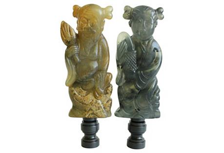 Happy Couple Jade Lamp Finials, Pair