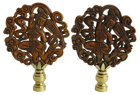 Chinese Musician Lamp Finials, Pair