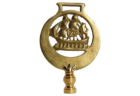 Nautical Brass Horse Tack Lamp Finial